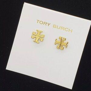 Tory Burch GOLD Small T Logo Stud Earrings